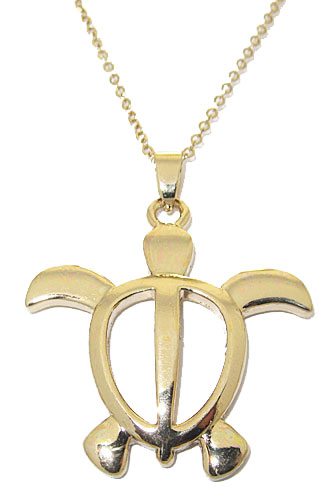 Yellow Gold High End Turtle Charm Necklace