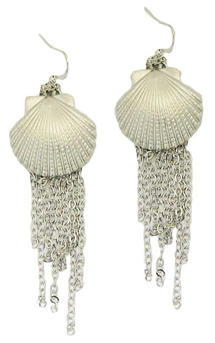 Silver Sea Shell Tassel Earring