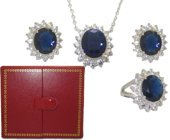 Princess Kate 3 Pcs Boxed Wholesale Set Sapphire