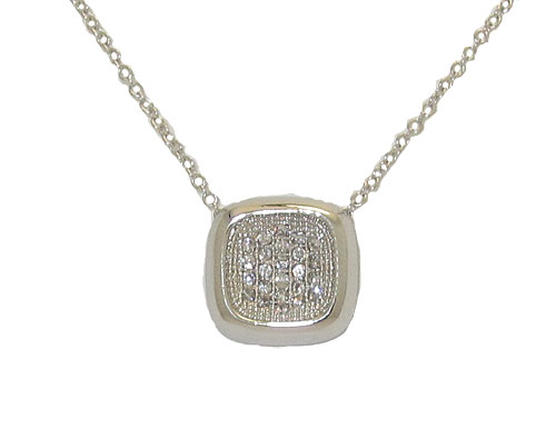 High End Rhodium & Simulated Diamonds pendant with chain