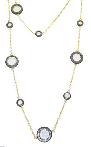 Wholesale Two Tone Gunmetal & Gold Necklace set with Cz