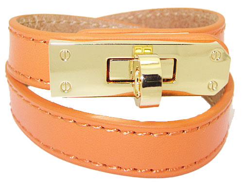 Orange+Bracelet+accented+in+Polished+Gold+wholesale+jewelry+