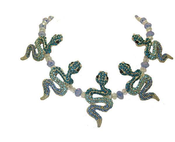 Snake Necklace in Blue and Aqua Crystal