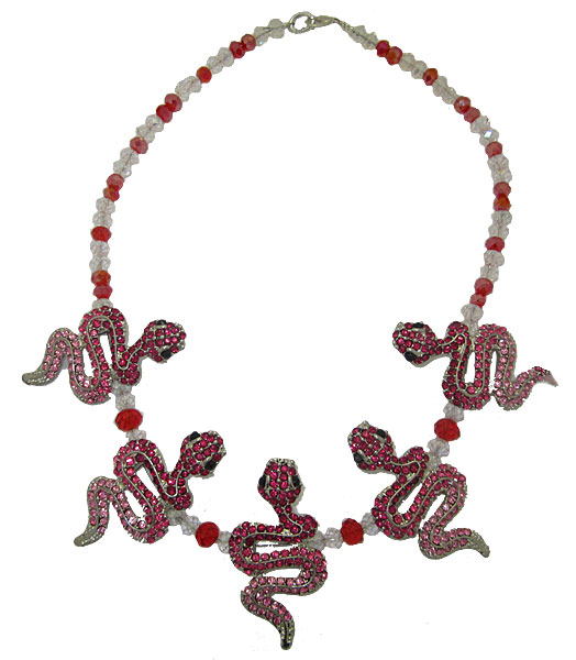 Snake Necklace in Pink & Fuchsia Crystal