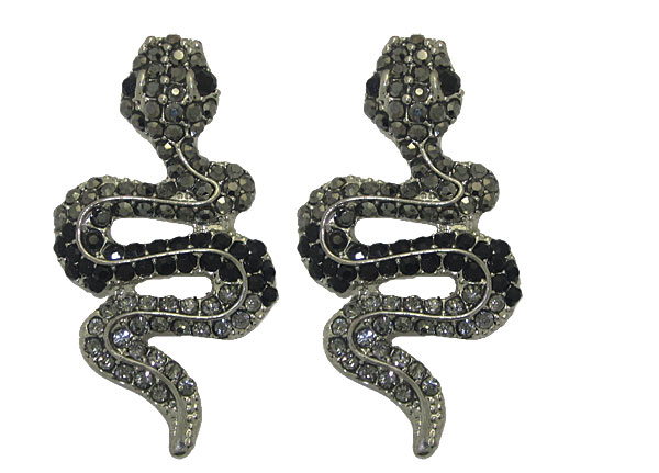 Snake Earrings in Black & Grey Crystal