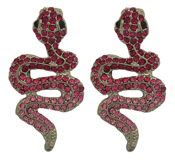 Snake Earrings in Pink & Fuchsia Crystal