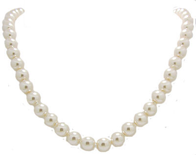 Glass Pearl Necklace 10 mm 18 inches