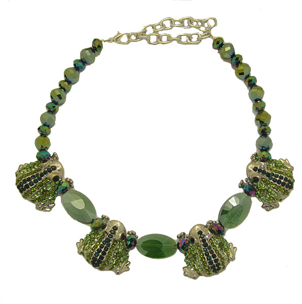 Frog Necklace in Green Crystal