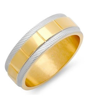 Men's Two-Tone Ring in 18 KT Gold Plated & Metallic