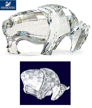 "Large Buffalo Figurine Authentic Swarovski Crystal 6""+ figurine"