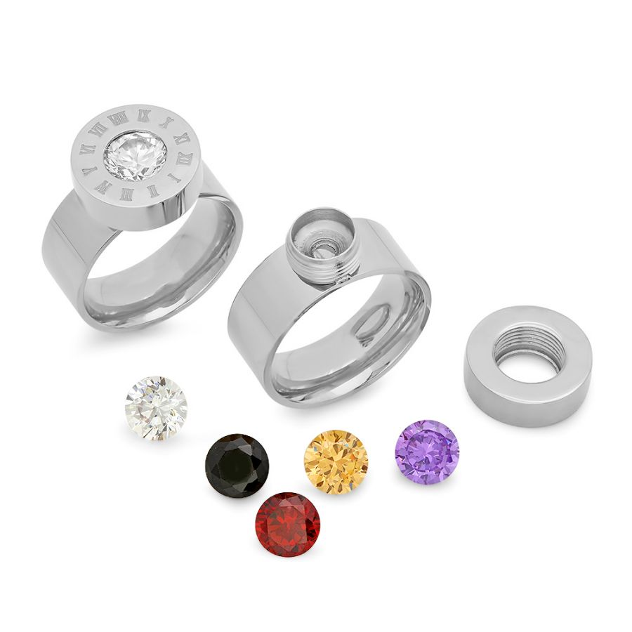 Stainless Steel Ring Interchangeable Colored CZ stones