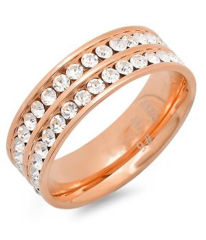 Rose Gold Plated Double Row Ring 18 Karat Gold