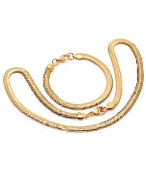 18 KT Gold Plated Bracelet Necklace Set