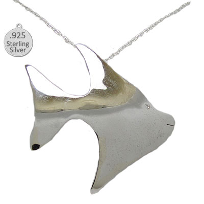 .925 Sterling Silver Fish Pendant & Chain