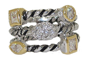Triple Row Cz Cable Ring Austrian Crystal Clear White