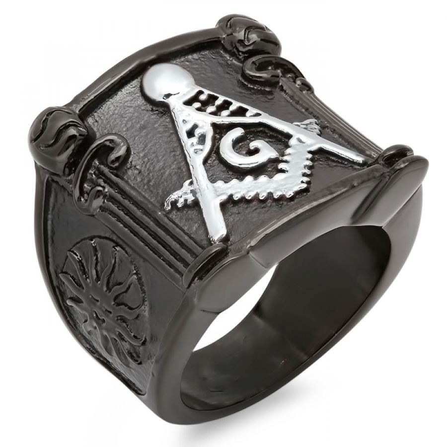 Men's Black IP Masonic Ring Stainless Steel Symbol