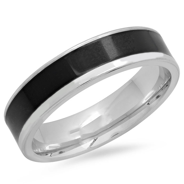 Stainless Steel Band Ring with Black IP