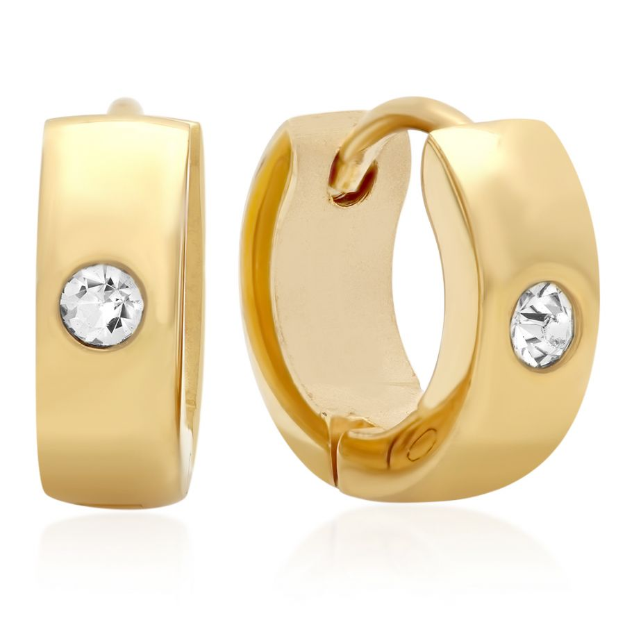 GOLD PLATED STAINLESS STEEL HUGGIE EARRINGS WITH SIMULATED DIAMOND 18 karat gold