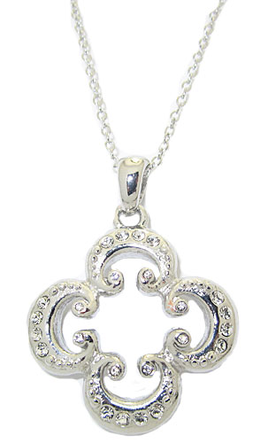 Wholesale MX Rhodium Necklace accented in crystal
