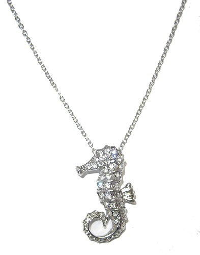 One tone silver, White Czech crystals Seahorse pendant