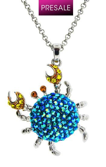 Rhodium with Mix Blue AB Crystal Crab Pendant