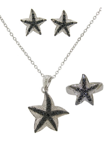 Star Fish Earring, Necklace & Ring Set 3 pcs