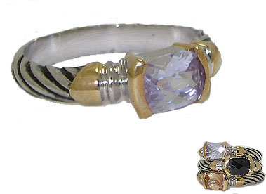 Designer Cable Stackable Ring Lavender