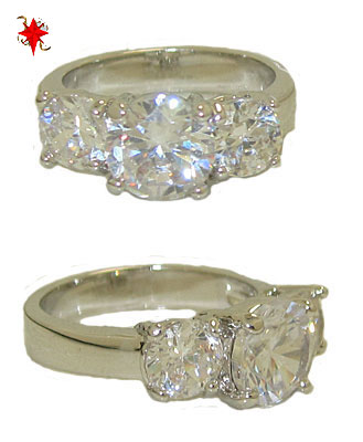 Three Stone Ring Austrian Crystal White Gold