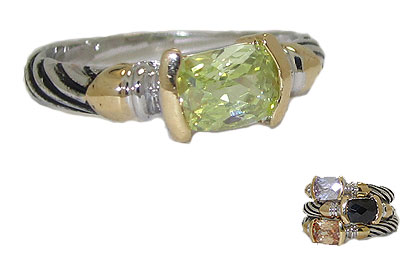 Designer Cable Stackable Ring Peridot