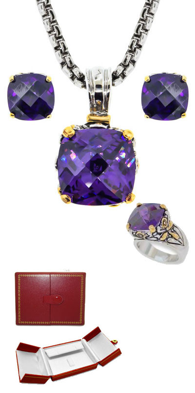 Designer Cable Jewelry 3 pcs Set in Amethyst in Faux Red Leather Box
