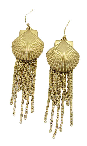 Yellow Gold Sea Shell Tassel Earring