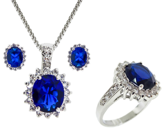 CZ Pendants, Earrings and Ring, 3 Pcs Set