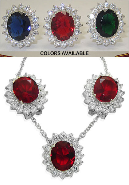 Princess Kate Wholesale 2 Pcs Set Earrings Necklace Emerald